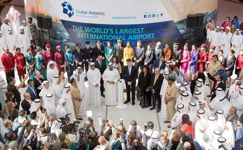His Highness Sheikh Ahmed Bin Saeed Al Maktoum, Chairman of Dubai Airports, and CEO Paul Griffiths lead the celebrations at Dubai International's Concourse D on Wednesday. (PRNewsFoto/Dubai Airports)
