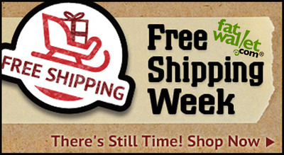 Leading up to Free Shipping Day, FatWallet's Free Shipping Week promotion features an entire week of free shipping discounts from hundreds of top retailers in which last minute holiday shoppers can stack additional savings with exclusive coupons and increased cash back.  (PRNewsFoto/FatWallet)