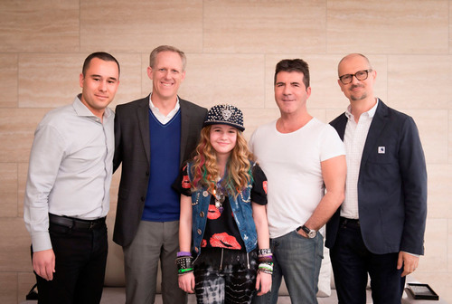 (L - R:  Phil McIntyre, Head of Syco Music North America, SYCO USA; Ken Bunt, President, Disney Music Group; Beatrice Miller;  Simon Cowell, SYCO Entertainment; Mio Vukovic, Senior Vice President, A&R and Creative, Disney Music Group).  (PRNewsFoto/Disney Music Group)