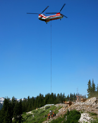 Ski Tower Construction.  (PRNewsFoto/American Helicopter Services & Aerial Firefighting Association)