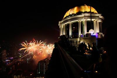 Bangkok, Thailand rang in 2014 with the first-ever Bangkok Ball Drop at lebua - the world's highest New Year's Eve Ball Drop.  (PRNewsFoto/lebua Hotels & Resorts)