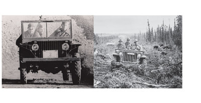 """One of the most distinctive elements of the """"jeep"""" design is the flat slotted grill with integrated headlights - for this - Ford gets the credit.  Ford's Pilot Model GP- No. 1 """"Pygmy"""" featured a flat grille with integrated headlights delivered to the U.S. Army on Nov. 23, 1940.  From thirteen slots (1940), to nine slots (1941), to seven slots (1945) - that's the history of the iconic """"jeep"""" grille."""