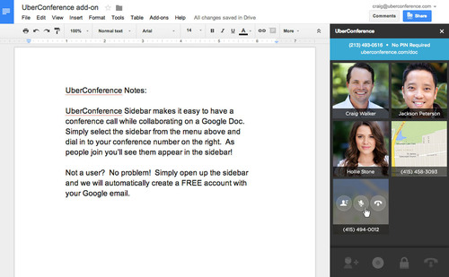 Using the UberConference add-on, anyone can now make collaboration live by creating a conference call with all of the editors of the Google Doc. (PRNewsFoto/UberConference) (PRNewsFoto/UBERCONFERENCE)