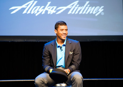 "Seattle Seahawks quarterback Russell Wilson joins the Alaska Airlines team as ""Chief Football Officer."".  (PRNewsFoto/Alaska Airlines)"