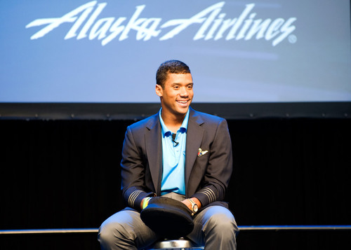 "Seattle Seahawks quarterback Russell Wilson joins the Alaska Airlines team as ""Chief Football ..."