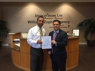 American Income Life's Tom Williams of the Williams-Zophin Agency (left) presents a check for $10,000 to Bert Thomas, CEO of the Sarcoma Foundation of America