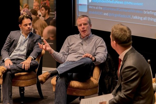 talkRADIO's managing editor, Dennie Morris (left), and Virgin Radio UK's programme director, Liam Thompson (centre), talking to Gorkana's head of news and content, Philip Smith (right) (PRNewsFoto/Gorkana)