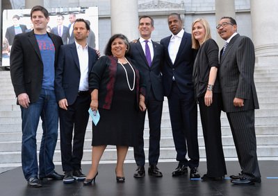 "From left to right: Budweiser Vice President Brian Perkins, Michael Rapino of Live Nation, Los Angeles City Supervisor Gloria Molina, Mayor of Los Angeles Eric Garcetti, Shawn ""Jay Z"" Carter, Elise Buik of United Way Of Greater Los Angeles and Los Angeles City Council President Herb Wesson."