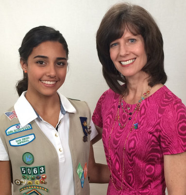 AMN Healthcare CEO Susan Salka, named one of Girl Scouts San Diego's Cool Women 2015, with Troop 5063 member Cristina De Almeida Amaral