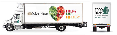 This rendered image depicts one of the two Meridian-sponsored 'Fueling the Food for Flint' trucks. The trucks will provide food to Flint families through September 2016 to help mitigate lead in the body for individuals impacted by the Flint Water Crisis.