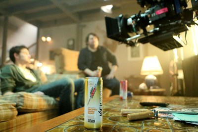 """Behind the scenes of """"Come Alive"""", the television commercial featuring two new flavors of Mtn Dew Kickstart - Pineapple Orange Mango and Strawberry Kiwi - fusing an energetic blast of DEW with real fruit juice, coconut water and just the right amount of kick. The commercial will be airing for the first time on Sunday, Feb. 1 during the Super Bowl XLIX Pre-Game Show and is part of Mtn Dew Kickstart's """"It All Starts with a Kick"""" campaign. Photo credit: Casey Rodgers"""