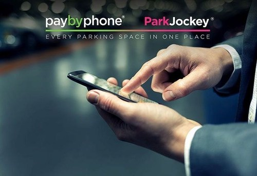 """The partnership between PayByPhone and the fast-growing start-up ParkJockey could herald the rise of the long-awaited """"unicorn"""" in parking tech. (PRNewsFoto/ParkJockey and PayByPhone) (PRNewsFoto/ParkJockey and PayByPhone)"""