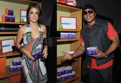 Nikki Reed (L) and LL Cool J(R) in the Backstage Creations Celebrity Gift Retreat at Teen Choice 11.  (PRNewsFoto/MetroPCS Communications, Inc., Mark Sullivan)