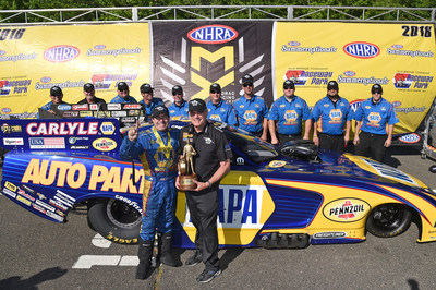 Ron Capps (finger raised) claimed the fourth consecutive victory this season for a Mopar Dodge Charger R/T Funny Car driver at the NHRA Summernationals in Englishtown, New Jersey.