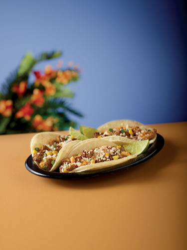 Chipotle Corn Street Tacos: made with grilled, marinated steak and topped with a mix of sweet yellow corn ...