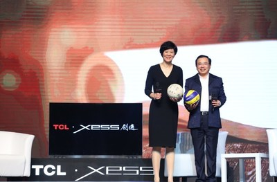 "China women's national volleyball team head coach ""Jenny"" Lang Ping and TCL Corporation chairman and CEO Li Dongsheng jointly announce the release of the XESS lineup of TV products"