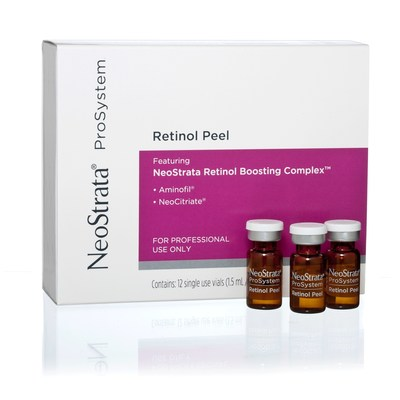 NeoStrata ProSystem Retinol Peel is an advanced, physician-strength peel that contains 3% Retinol plus a  Retinol Boosting Complex(TM) to exfoliate and improve the appearance of fine lines and wrinkles, help reduce acne, and improve skin laxity while promoting a bright, even and clear complexion.