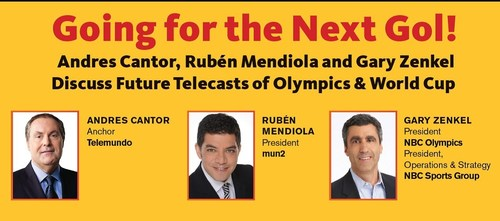 Andres Cantor, Anchor, Telemundo; Ruben Mendiola, President, mun2; Gary Zenkel, President, NBC Olympics, and ...