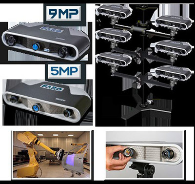 9MP Cobalt Array Imager and 5MP Cobalt Array Imager. Six Cobalt sensors mounted in a multi-imager array configuration. Cobalt features interchangeable lenses and is easily mounted on a robot for automated inspections.