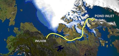 Northwest Passage route map (3,000km).  Four adventurers will traverse starting 01 July for between 2-3 months to highlight the effects of climate change.