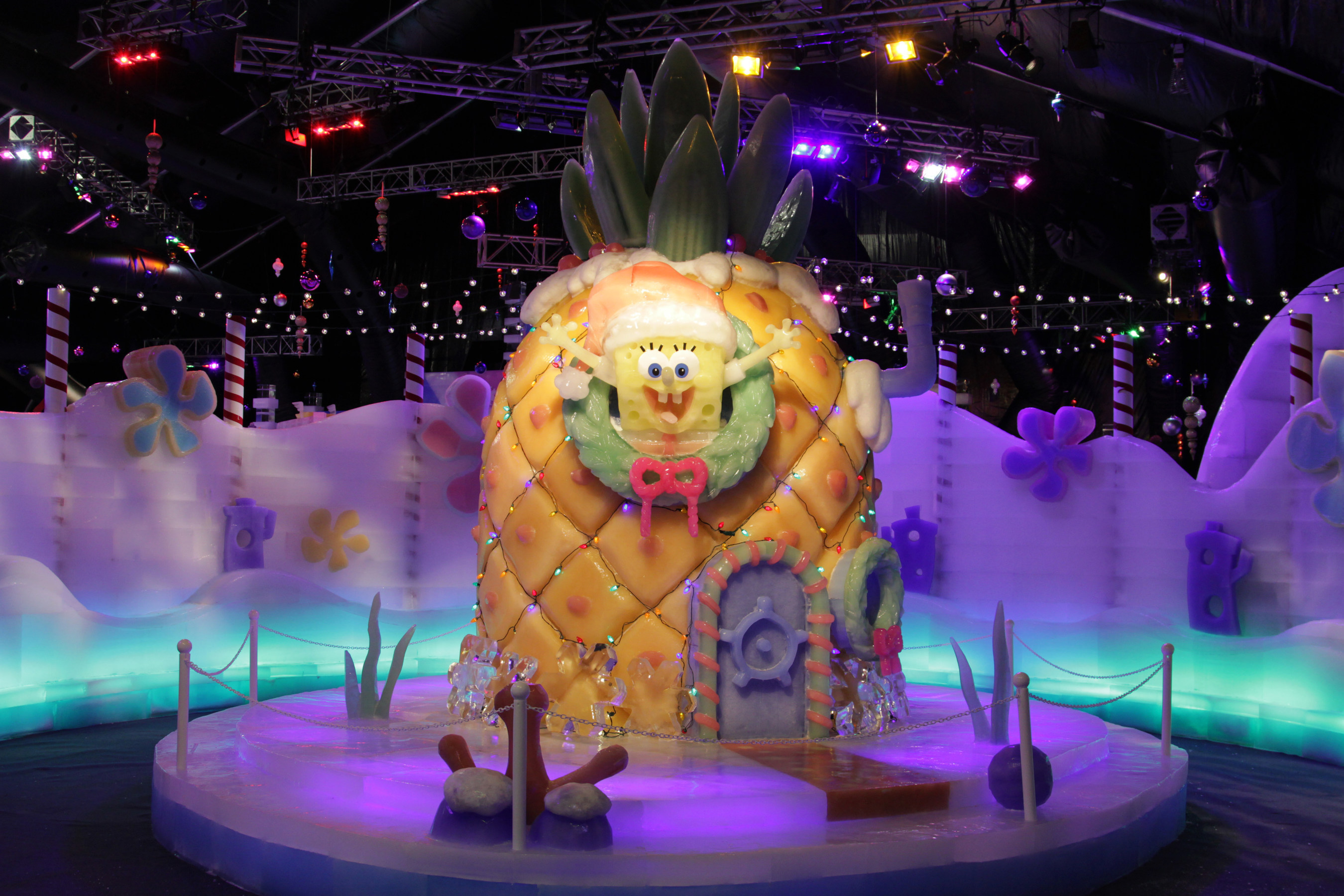 The highly anticipated ICE LAND Ice Sculptures with SpongeBob SquarePants Opened at Moody Gardens in Galveston,  ...