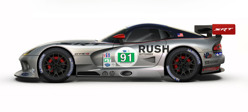 "As part of its partnership with Universal Pictures to promote ""Rush,"" a Ron Howard biographical action film based on the true story of Austrian Formula 1 champion driver Niki Lauda and his return to racing after a 1976 crash that almost took his life, the SRT brand has added graphics from the film to its No. 91 Rush SRT Viper GTS-R race car that competes in the GT Class of the American Le Mans Series (ALMS).  (PRNewsFoto/Chrysler Group LLC)"