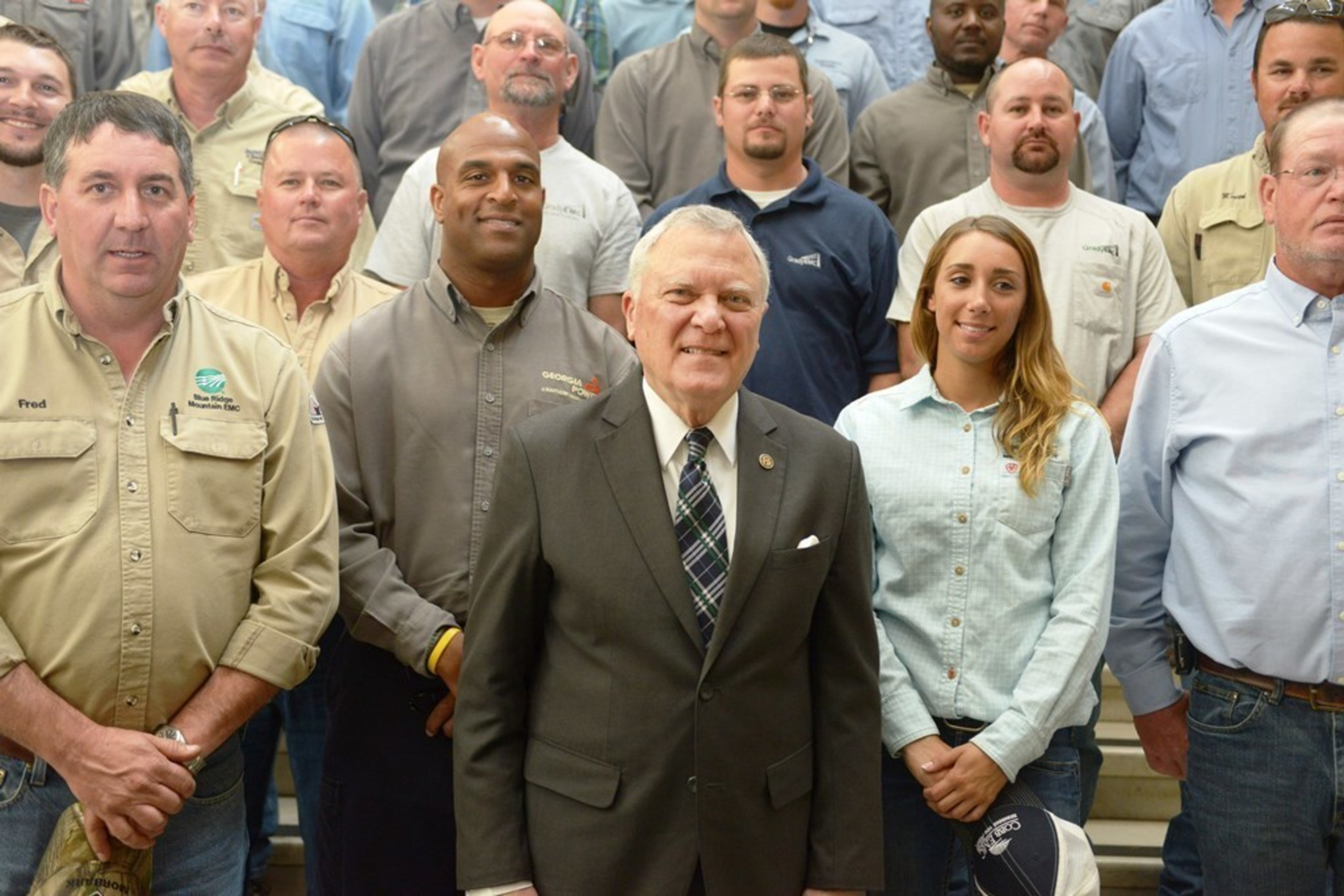 Governor Nathan Deal with dozens of the state's linemen at the Georgia Capitol on Tuesday, April 19.