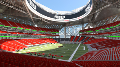 The futuristic $1.2 billion Atlanta Falcons stadium is expected to be complete in time for the 2017 NFL season. (PRNewsFoto/PocketCake)