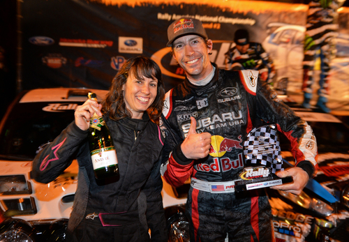 Travis Pastrana marked his return to Subaru with a podium at Rally in the 100 Acre Wood with codriver Chrissie ...