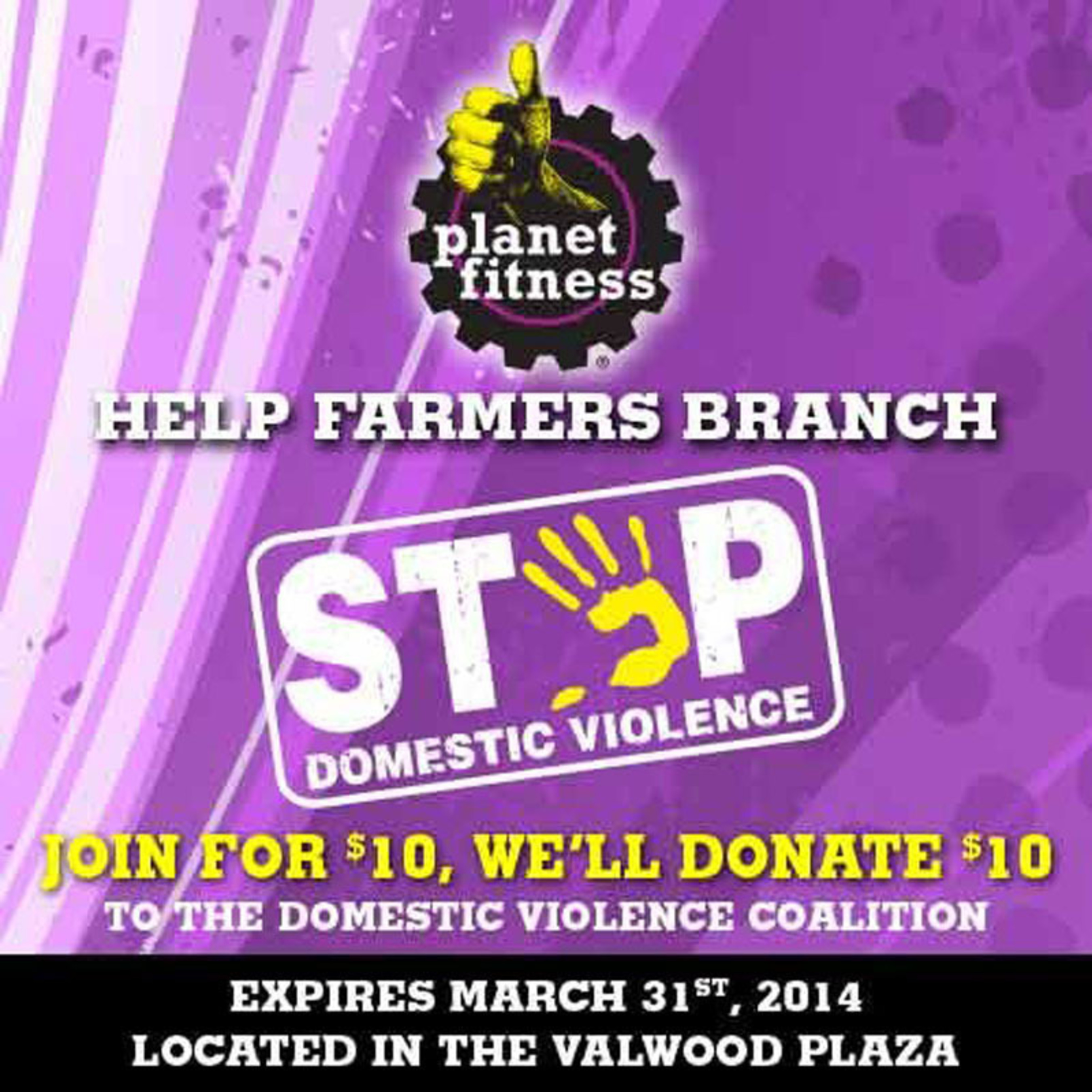 """Planet Fitness in Farmers Branch helps """"Paint the Town Purple"""" to raise awareness for Domestic Violence. Their signature color, purple, evokes feelings of warmth, power, joy and happiness. (PRNewsFoto/Planet Fitness)"""