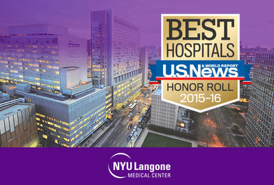 "NYU Langone Medical Center is #12 in the nation on U.S. News & World Report's ""Best Hospitals 2015- 16 Honor Roll,"" with 12 nationally-ranked specialties, including top 10 rankings in Orthopaedics, Rheumatology, Rehabilitation, Neurology & Neurosurgery, and Geriatrics."