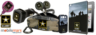 U.S. Army(R) ARMY STRONG(R) mobile accessories from US Digital Media. Available at www.MobileMars.com. U.S. Army(R) earbuds, car chargers, mobile USB rechargeable chargers, BudBags mini-duffle earbud carriers, phone cases and tablet cases.  (PRNewsFoto/US Digital Media)