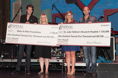 Spinal Elements' President and CEO Present Make-A-Wish and St. Jude Representatives Checks Totaling $250,000. L to R: Jason Blain, president and co-founder Spinal Elements, Jackie Heroman, Make-A-Wish Texas Gulf Coast and Louisiana Chapter, Danielle Chauvin, Regional Event Specialist at St. Jude Children's Research Hospital, Todd Andres, CEO and co-founder Spinal Elements. (PRNewsFoto/Spinal Elements) (PRNewsFoto/SPINAL ELEMENTS)