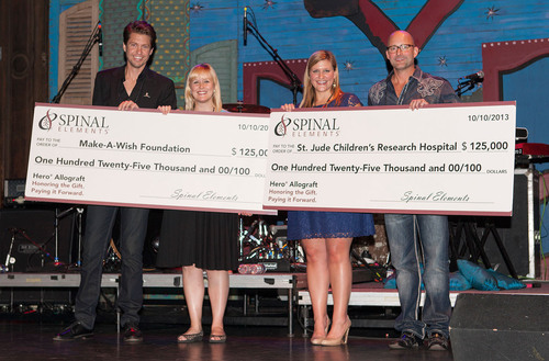 Spinal Elements' President and CEO Present Make-A-Wish and St. Jude Representatives Checks Totaling $250,000. L to R: Jason Blain, president and co-founder Spinal Elements, Jackie Heroman, Make-A-Wish Texas Gulf Coast and Louisiana Chapter, Danielle  ...