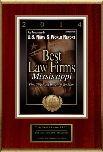 """Truly, Smith & Latham, P.L.L.C. Selected For """"Best Law Firms 2014 - Mississippi"""" (PRNewsFoto/Truly, Smith & Latham, P.L.L.C.)"""