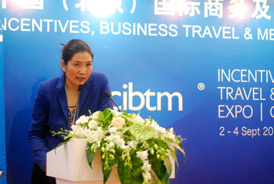 """Ms. Parichat Svetasreni, Director of Marketing and Corporate Image from Thailand Convention and Exhibition Bureau (TCEB) debuted Thailand's latest global attribute for MICE industry through """"Thailand...Connecting High Level of Standard to New Heights of Success"""" presentation at CIBTM 2013 in Beijing.  (PRNewsFoto/Thailand Convention & Exhibition Bureau)"""