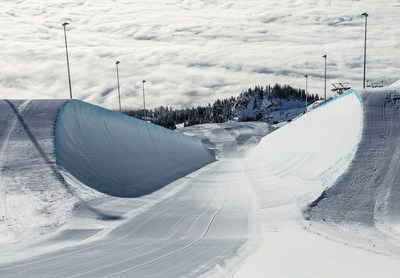 LAAX makes freestyle dreams a reality. The world's largest halfpipe majestically crowns the Crap Sogn Gion: 200 metres of pure experience for all. The experience continues in the four snow parks and the Freestyle Academy, Europe's first freestyle training hall, and Burton Riglet Park in Rock Resort. The superpipe is the venue of the LAAX OPEN snowboard contest with prize money of US $ 500,000 to be held between 18 and 24 January 2016. (PRNewsFoto/LAXX) (PRNewsFoto/LAXX)