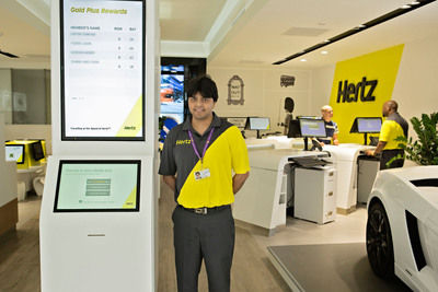 Hertz enhances customer service at its London, Marble Arch location, with a trendy makeover including a concierge-style service, Hertz Supercar display, complimentary internet access and self service video kiosks.  (PRNewsFoto/The Hertz Corporation)