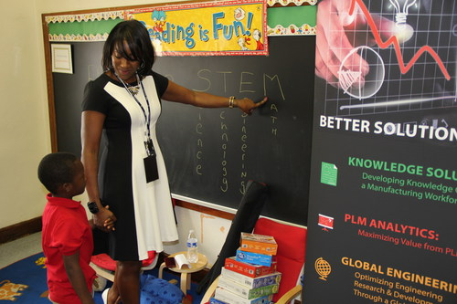Alisa Harewood, head of the office of the CEO at Tata Technologies, teaches the meaning of STEM (science, ...