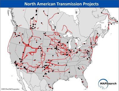 North American Electric Power Transmission Projects.  (PRNewsFoto/MAPSearch)
