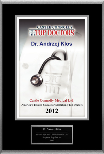 Dr. Andrzej Klos is recognized among Castle Connolly's Top Doctors® for Hoboken, NJ region