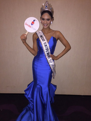 Miss Universe 2015 Pia Wurtzbach celebrating her win with charity partner Smile Train