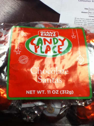 Candy Place Chocolate Santas packages were voluntarily recalled by Giant Eagle due to an undeclared peanut allergen. (PRNewsFoto/Giant Eagle) (PRNewsFoto/GIANT EAGLE)
