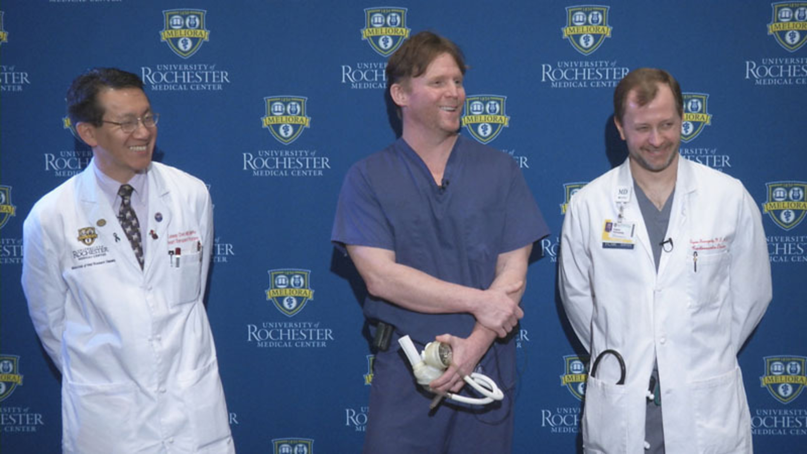 On April 11, 2012, University of Rochester Medical Center announced its first implant of the SynCardia temporary Total Artificial Heart at a news conference. L to R: Leway Chen, M.D., M.P.H., medical director of the Artificial Heart Program, H. Todd Massey, M.D., surgical director of the Artificial Heart Program and Eugene Storozynsky, M.D., Ph.D., transplant cardiologist with the Artificial Heart Program.  (PRNewsFoto/SynCardia Systems, Inc.)