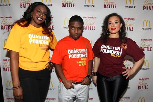 2014 McDonald's Flavor Battle finalists (l-r) DJ Erika B of Newport News, VA, DJ R-Tistic of Los Angeles and DJ Niena Drake of Chicago. DJ R-Tistic eventually edged out his competitors before a panel of celebrity judges and online viewers for the win. McDonald's Flavor Battle is a national online DJ competition that showcases some of America's hottest up-and-coming mix-masters. Watch the rebroadcast of the finale anytime until March 30 on FlavorBattle.com. Photo credit: Soul Brother. (PRNewsFoto/McDonald's) (PRNewsFoto/MCDONALD'S)