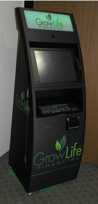 Introducing the GrowLife (OTCBB:PHOT) Kiosk for Legal Cannabis Dispensary transactions. The kiosk provides  Payment, Cash Management, and Regulatory Compliance Technology for Legal Cannabis Dispensaries.  (PRNewsFoto/GrowLife, Inc.)