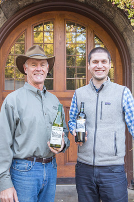 CEO and Master Winemaker Bo Barrett, left, holding a bottle of the Chateau Montelena 1973 Chardonnay with Winemaker Matt Crafton in front of the Calistoga winery