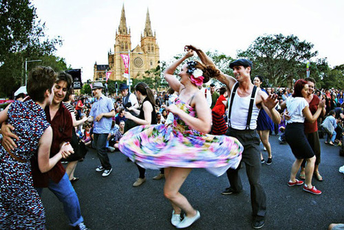 Sydney Festival dancers in front of St Mary's Cathedral by Prudence Upton.  (PRNewsFoto/Destination NSW, Prudence Upton)