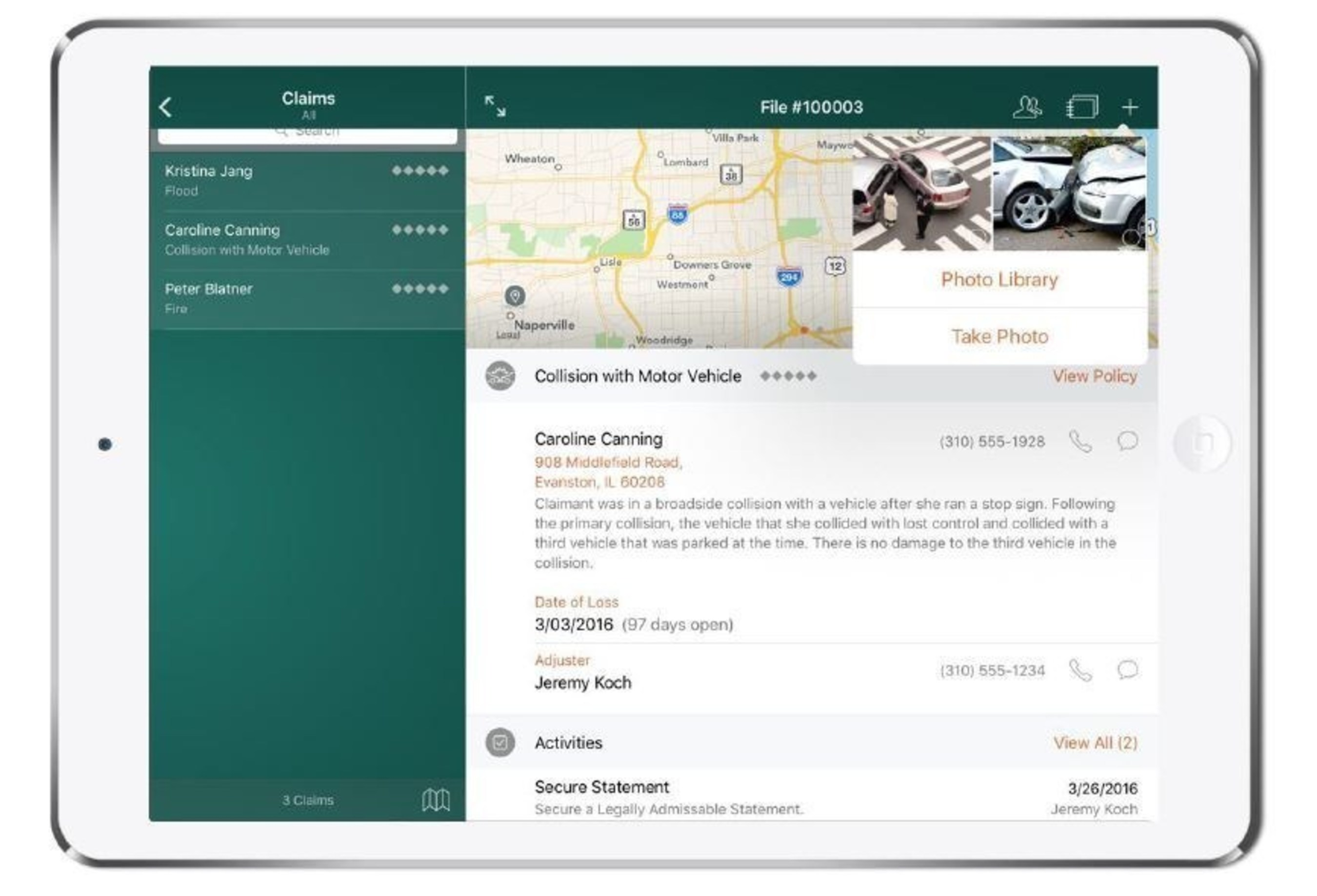 Amica Insurance, the oldest mutual insurer of automobiles in the United States, is transforming how its adjusters manage claims by putting real-time claim data and insights in the palm of their hands. Amica will adopt IBM MobileFirst for iOS Claims Adjust, shown here on an iPad Pro.