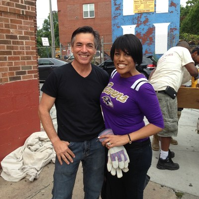 Gloves on. The pre-makeover clean up for Today Show's ''Main Street Makeover with Martin Lindstrom''.  Baltimore Mayor Stephanie Rawlings-Blake lends a hand with Jonathan Greenstein from branding agency, Juice Group. See what happened on Sunday August 24th, 8pm (PRNewsFoto/Juice Group Advertising)